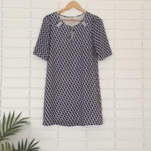 Needle & Thread Blue & White Keyhole Cutouts Dress